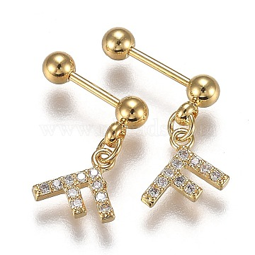 304 Stainless Steel Ear Fake Plugs Gauges, with Clear Cubic Zirconia, Letter F, Golden, 13.5mm, Pin: 0.8mm, 12pcs/set(EJEW-H113-05G)
