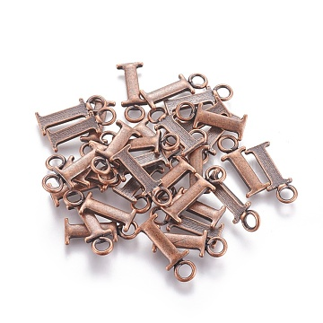 Tibetan Style Alloy Pendants, Lead Free & Nickel Free, Letter I, Red Copper, 21x8x2mm, Hole: 4mm(TIBEP-A24567-R-FF)
