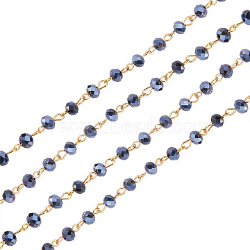 Handmade Rondelle Glass Beads Chains for Necklaces Bracelets Making, with Golden Iron Eye Pin, Unwelded, Black, 39.3 inches, Glass Beads: 6x4mm(X-AJEW-JB00037-03)