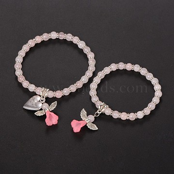 Mother daughter Jewelry, Rose Quartz Beaded Acrylic Charm Bracelets, with Tibetan Style Alloy Beads and Heart Pendants, Lovely Wedding Dress Angel Dangle, Antique Silver, 48mm & 58mm(X-BJEW-JB01794-02)