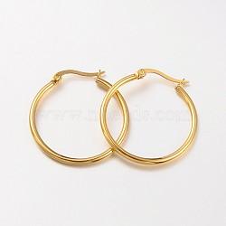 304 серьги нержавеющей стали обручем, гипоаллергенные серьги, кольцевая форма, золотой, 12 датчик, 30x2 mm; контактный: 1x0.7 mm