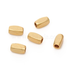 Brass Beads, Long-Lasting Plated, Matte Style, Tube, Real 18K Gold Plated, 6x3x3mm, Hole: 1.8mm(X-KK-G390-24MG)