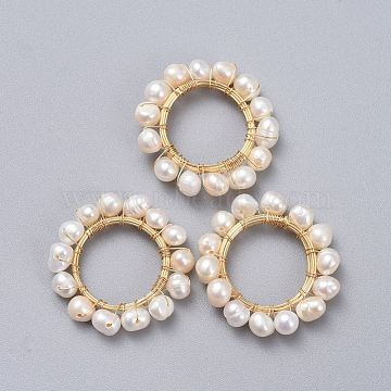 Natural Cultured Freshwater Pearl Pendants, Wire Wrapped Pendants, with Brass Wire, Ring, Golden, 29~30mm(X-PALLOY-JF00380)