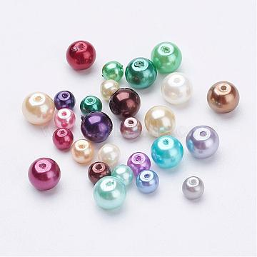 Environmental Dyed Glass Pearl Round Bead Strands, Cotton Cord Threaded, Mixed Color, Mixed Color, 4~6mm, Hole: 0.7mm(HY-X0006-4-6mm)