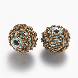Perles Indonésiennes manuelles, avec polymères d'argile et les accessoires en laiton , sans nickel, rond avec des chaînes, Bleu ciel, non plaqué, 17x14mm, Trou: 3mm(IPDL-G009-01C-NF)