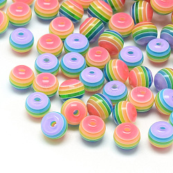 Transparent Stripe Resin Beads, Round, Colorful, 8mm, Hole: 2mm(X-RESI-S345-8mm-10)