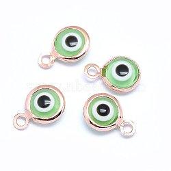 Breloques vernissées de mauvais œil manuelles, avec les accessoires en laiton, plat rond, lightgreen, Véritable plaqué or rose, 10x6.5x3mm, Trou: 1.5mm(KK-F764-13RG-03)