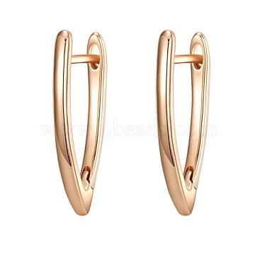 Brass Hoop Earrings, Letter V, Rose Gold, 23x12mm(EJEW-BB35433-RG)