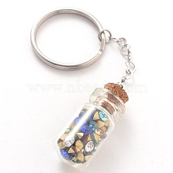 Stainless Steel Keychain, with Glass Rhinestone Bottle and with Wooden Bungs, Colorful, 93mm(X-KEYC-JKC00058)