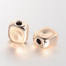 perles d'alliage sans nickel et sans plomb, plaqué longue durée, carré, or, 9x9x5 mm, trou: 2.5 mm(PALLOY-E391-11G-FF)
