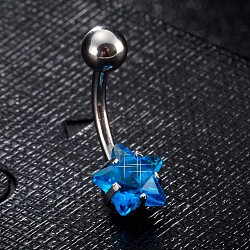 Piercing Jewelry, Brass Cubic Zirciona Navel Ring, Belly Rings, with Stainless Steel Findings, Lead Free & Cadmium Free, Star, Blue, 20mm, Star: 8mm; Pin: 1.5mm(AJEW-EE0006-50C)