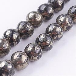 Chapelets de perles de pyrite naturelle , rond, 8mm, trou: 1mm; environ 48 pcs/chapelet, 16''(G-P303-01-8mm-16)