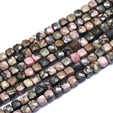 Natural Rhodonite Beads Strands, Cube, Faceted, 6~6.5x6~6.5x6~6.5mm, Hole: 1mm; about 58pcs/Strand, 15.55 inches(39.5cm)(G-K310-B02)