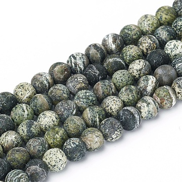 Natural Silver Line Jasper Beads Strands, Frosted, Round, 6.5mm, Hole: 1mm; about 59pcs/strand, 15.57inches(37cm)(G-L549-01-6mm)
