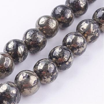 Natural Pyrite Beads Strands, Round, 8mm, Hole: 1mm; about 48pcs/strand, 16 inches(G-P303-01-8mm-16)