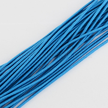 Elastic Cord, with Fibre Outside and Rubber Inside, Dodger Blue, 2mm, about 109.36 yards(100m)/bundle(EC-R004-2.0mm-08)