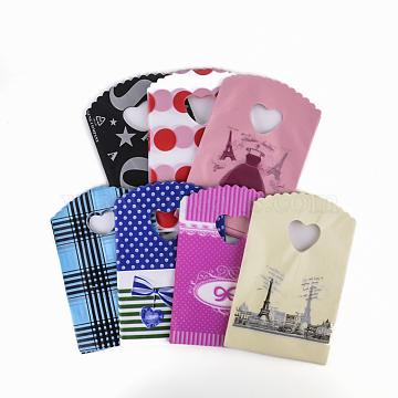 Sacs en plastique imprimés, couleur mixte, 19.5x13 cm(X-PE-T001-15x20cm-M)