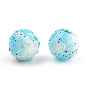 Drawbench & Baking Painted Glass Beads Strands, Round, LightSkyBlue, 4mm; Hole: 1.1~1.3mm; about 200pcs/strand, 31.4 inches(GLAA-S176-4mm-02)