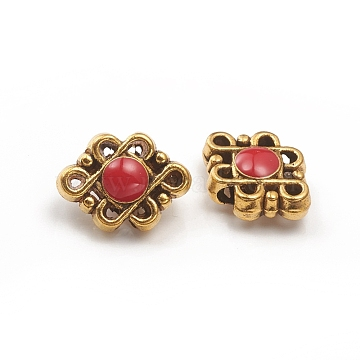 Antique Golden Plated Alloy Beads, with Enamel, Chinese Knot, Red, 12x16.5x6mm, Hole: 3mm(ENAM-L030-O01-AG)