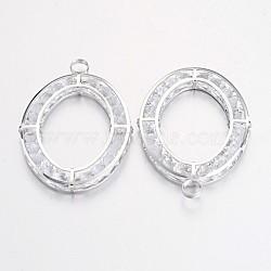 Strass de fer gros pendentifs, ovale, platine, 67x45x5mm, Trou: 6mm(IFIN-L022-03P)