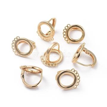 Accessoires de boucle d'oreilles en laiton, avec boucle, Plaqué longue durée, anneau, véritable plaqué or, 15.5x13x14mm, trou: 1 mm; broches: 0.9 mm(KK-L180-110G)