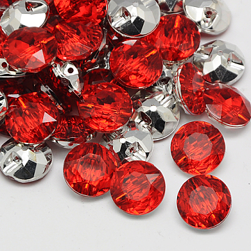 Taiwan Acrylic Rhinestone Buttons, Faceted, 1-Hole, Flat Round, Cerise, 21x9mm, Hole: 1.5mm(BUTT-F020-21mm-32)