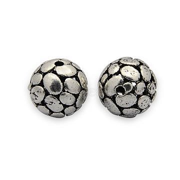 Brass Hollow Filigree Beads, Filigree Ball, Round, Nickel Free, Antique Silver, 13mm, Hole: 1mm(KK-J187-63AS-NF)