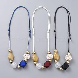 """Colliers à bretelles réglables, avec des perles acryliques, perles de canne tissées à la main et cordon en polyester ciré, couleur mixte, 15.7""""~26.7"""" (40~68 cm)(NJEW-JN02594)"""