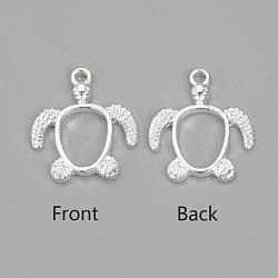 pendentifs lunette ouvert en alliage, pour diy uv résine, une résine époxy, Bijoux à fleurs pressées, tortue, argent, 21.5x18.5x2.5 mm, trou: 2 mm(X-PALLOY-R098-62S)