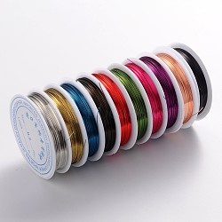 Copper Jewelry Wire, Lead Free & Cadmium Free & Nickel Free, Mixed Color, 24 Gauge, 0.5mm; 9m/roll(CWIR-CW0.5mm)