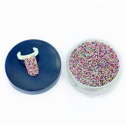 50g arc translucidité mélangé diy nail art 3d décoration de mini perles de verre, minuscules perles de clou de caviar, couleur mixte, 0.6~1.5mm(MRMJ-N001-01)