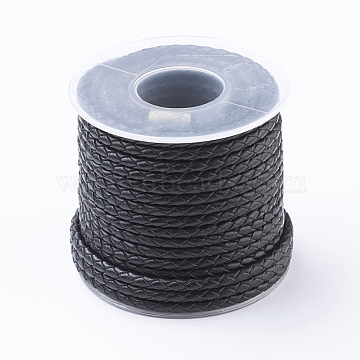 Round Braided Leather Cord, Leather String for Bracelet Making, Black, 3mm, about 10.93 yards(10m)/roll(WL-G002-01A)