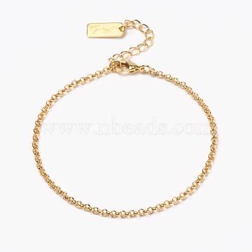 Brass Rolo Chain Bracelets, with Lobster Claw Clasps, Long-Lasting Plated, Word Hand Made, Real 18K Gold Plated, 7 inches(17.8cm)(BJEW-H537-08G)