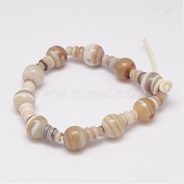 Natural Striped Agate/Banded Agate 3-Hole Guru Bead Strands, for Buddhist Jewelry Making, T-Drilled Beads, 16.5~18mm, Hole: 2~3mm; 2pcs/set, 10sets/strand, 6.5 inches(G-K149-36)