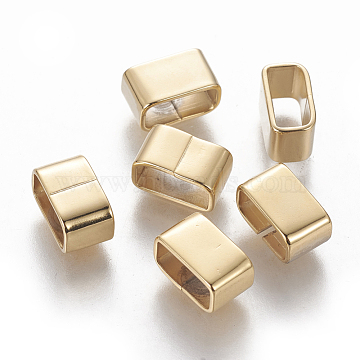 304 Stainless Steel Slide Charms/Slider Beads, For Leather Cord Bracelets Making, Rectangle, Golden, 10x6x5.5mm, Hole: 4x8.5mm(STAS-L233-061G)