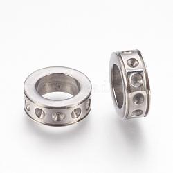304 inoxydable supports de strass de perles d'acier, anneau, couleur inoxydable, s'adapter pour 2 mm strass; 13x5 mm, Trou: 8.5mm(STAS-F175-32P)