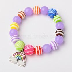 Perles rondes acrylique néon s'étendent bracelets pour les enfants, avec des perles colorées acryliques, perles de résine et alliage pendentifs émail de l'arc, platine, Mediumpurple, 45mm(BJEW-JB01456-02)