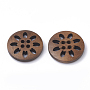 4-Hole Wooden Buttons, Flat Round, Coconut Brown, 24.5~25.5x4.5~5mm, Hole: 1.5mm