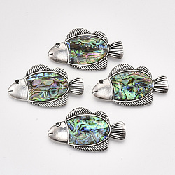 Abalone Shell/Paua Shell Broochs/Pendants, with Alloy Findings and Resin Bottom, Fish, Antique Silver, Colorful, 33x58.5x10mm, Hole: 10x3.5mm; Pin: 0.6mm(X-SHEL-S275-54A)