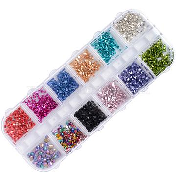 Glass Cabochons, Nail Art Decorations, Chip, Mixed Color, 1~5x1~5x0.1~3mm(X-MRMJ-Q089-026)
