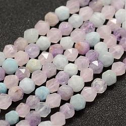 """Brins de perles aigue-marine naturelles et quartz rose et améthyste, facette, rond, 6mm, trou: 1mm; environ 61 pcs/chapelet, 14.5~14.7"""" (37~37.5 cm)(G-G682-34-6mm)"""