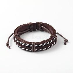 Bracelets réglables unisexe en corde de peau de vache, avec cordon de tissu, coconutbrown, 53x57mm(BJEW-L544-11B)