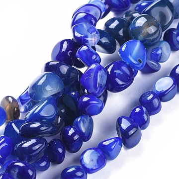 7mm Blue Nuggets Natural Agate Beads