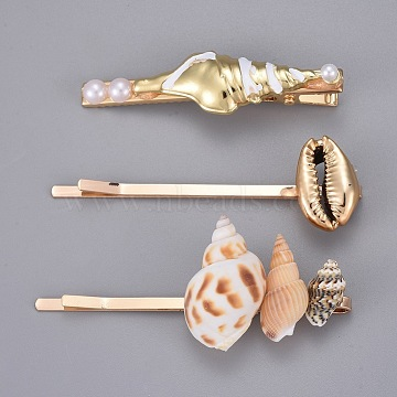 Iron Hair Clip Set, with Shell, Enamel and Alloy Findings, Golden, 60x16mm; 70x22mm; 70x29.5mm; 3pcs/set(X-PHAR-E016-02)