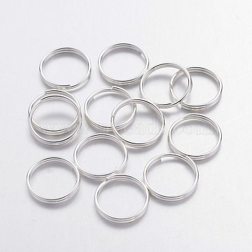 Silver Color Plated Iron Split Rings, Cadmium Free & Lead Free, 10x1.4mm,  about 8.6mm inner diameter, about 200pcs/50g(X-JRDS10mm)