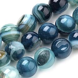 Натуральные полосатые агатовые / полосатые агатовые бусинки, окрашенные, круглые, голубые, 8 мм, Отверстие : 1 мм; около 50 шт / нитка, 15.7