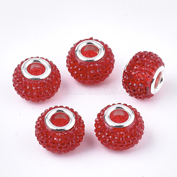 Resin Rhinestone European Beads, Large Hole Beads, with Platinum Tone Brass Double Cores, Rondelle, Berry Beads, Red, 14x10mm, Hole: 5mm(RPDL-T002-03F)