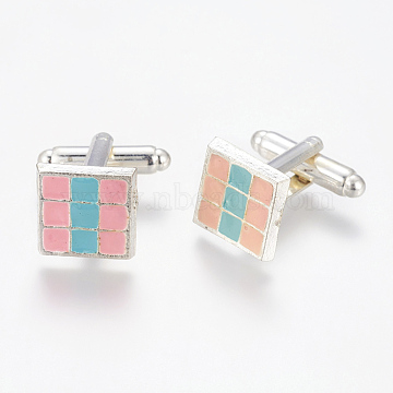 Brass Cufflinks, with Alloy Enamel Tray, Square, Platinum Color, PearlPink and DeepSkyBlue, Size: about 13mm long, 13mm wide, 26mm high(KK-Q243-1)