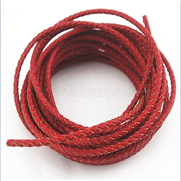 Braided Leather Cord, Red, 3mm(WL-L010-A01)