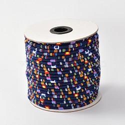Cordes ethniques en tissu, midnightblue, 6 mm; environ 50 mètres / rouleau (150 pieds / rouleau)(OCOR-F003-6mm-11)